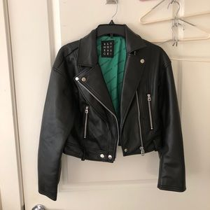 SLY faux leather jacket in black
